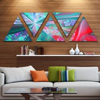 Designart 'Red Blue Fractal Exotic Plant Stems' Contemporary Triangle Canvas Art Print - 5 Panels