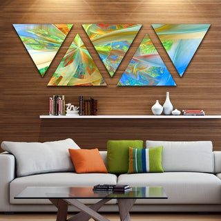 Designart 'Yellow Fractal Exotic Plant Stems' Contemporary Triangle Canvas Art Print - 5 Panels