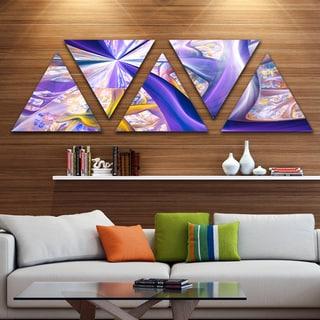 Designart 'Purple Gold Fractal Plant Stems' Contemporary Triangle Canvas Art Print - 5 Panels
