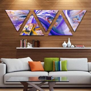 Designart 'Purple Yellow Fractal Curves' Contemporary Wall Art - Triangle 5 Panels