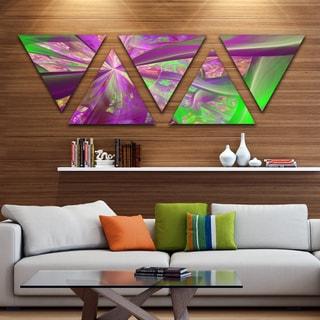 Designart 'Pink Green Fractal Curves' Contemporary Triangle Canvas Art Print - 5 Panels