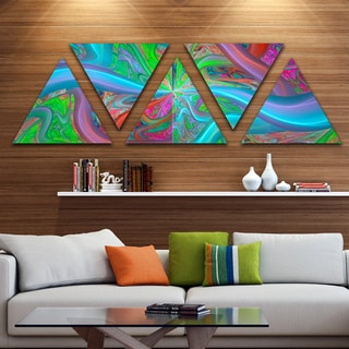 Designart 'Blue Green Fractal Curves' Contemporary Triangle Canvas Art Print - 5 Panels
