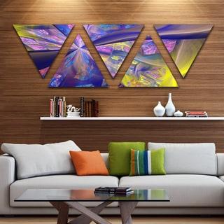 Designart 'Purple Yellow Fractal Curves' Contemporary Triangle Canvas Art Print - 5 Panels