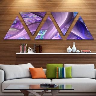 Designart 'Purple Blue Fractal Curves' Contemporary Triangle Canvas Art Print - 5 Panels