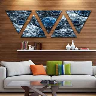 Designart 'Blue Fractal Exotic Planet' Contemporary Triangle Canvas Art Print - 5 Panels