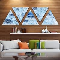Designart 'Light Blue Fractal Exotic Planet' Contemporary Triangle Canvas Art Print - 5 Panels