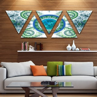 Designart 'Blue Psychedelic Relaxing Art' Contemporary Triangle Canvas Art Print - 5 Panels