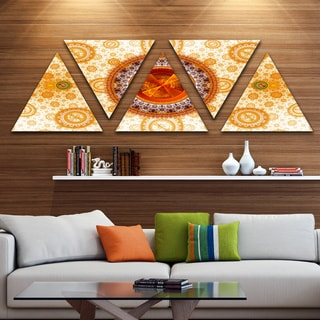 Designart 'Yellow Psychedelic Relaxing Art' Contemporary Triangle Canvas Art Print - 5 Panels