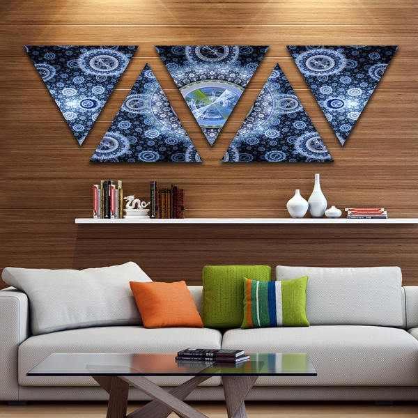 Designart 'Clear Blue Psychedelic Relaxing Art' Contemporary Triangle Canvas Art Print - 5 Panels