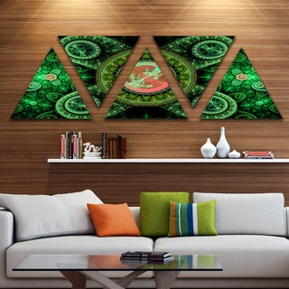 Designart 'Green Psychedelic Relaxing Art' Contemporary Triangle Canvas Art Print - 5 Panels