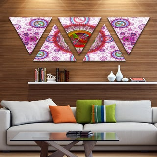 Designart 'Pink Psychedelic Relaxing Art' Contemporary Triangle Canvas Art Print - 5 Panels