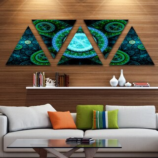 Designart 'Bright Blue Psychedelic Relaxing Art' Contemporary Triangle Canvas Art Print - 5 Panels