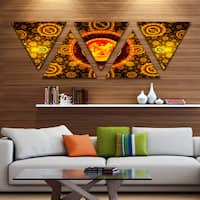 Designart 'Golden Psychedelic Relaxing Art' Contemporary Triangle Canvas Art Print - 5 Panels