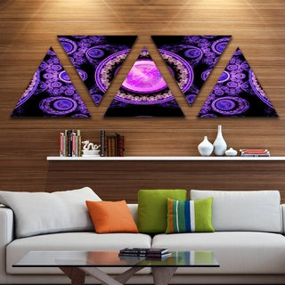 Designart 'Purple Psychedelic Relaxing Art' Contemporary Triangle Canvas Art Print - 5 Panels