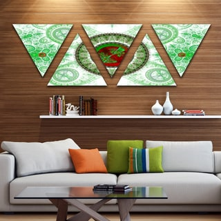 Designart 'Light Green Psychedelic Relaxing Art' Contemporary Triangle Canvas Art Print - 5 Panels