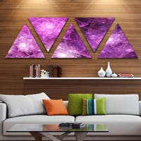 Designart 'Pink Rotating Polyhedron' Contemporary Triangle Canvas Art Print - 5 Panels