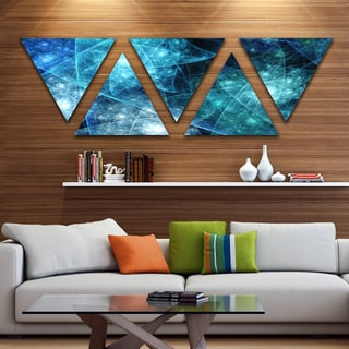 Designart 'Blue Rotating Polyhedron' Contemporary Triangle Canvas Art Print - 5 Panels