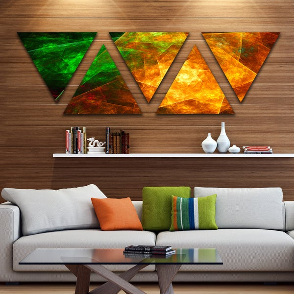 Designart 'Yellow Rotating Polyhedron' Contemporary Triangle Canvas Art Print - 5 Panels