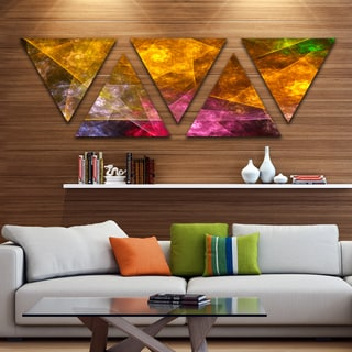 Designart 'Yellow Pink Rotating Polyhedron' Contemporary Triangle Canvas Art Print - 5 Panels