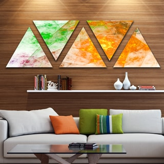Designart 'Green Yellow Rotating Polyhedron' Contemporary Triangle Canvas Art Print - 5 Panels