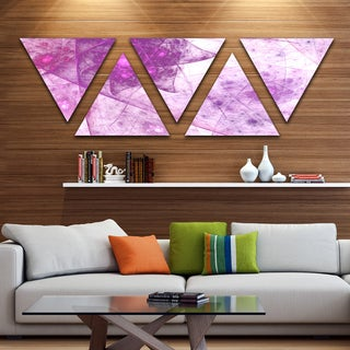 Designart 'Light Purple Rotating Polyhedron' Contemporary Triangle Canvas Wall Art - 5 Panels