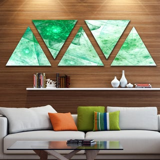 Designart 'Clear Green Rotating Polyhedron' Contemporary Triangle Canvas Wall Art - 5 Panels