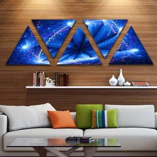 Designart 'Blue Star Clusters' Contemporary Triangle Canvas Wall Art - 5 Panels