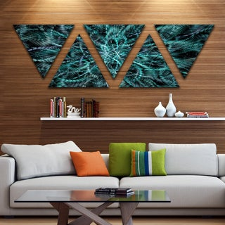 Designart 'Unusual Starry Fractal Metal Grill' Contemporary Triangle Canvas Wall Art - 5 Panels