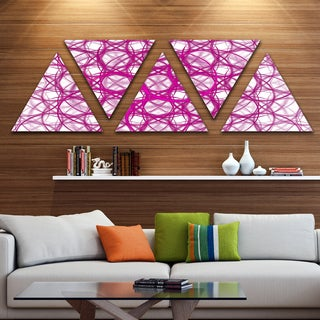 Designart 'Pink Unusual Metal Grill' Contemporary Triangle Canvas Wall Art - 5 Panels
