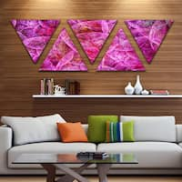 Designart 'Pink Fractal Dramatic Clouds' Contemporary Triangle Canvas Wall Art - 5 Panels