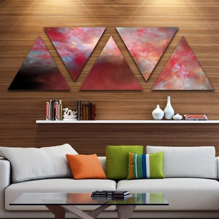 Designart 'Red Starry Fractal Sky' Contemporary Triangle Canvas Art Print - 5 Panels