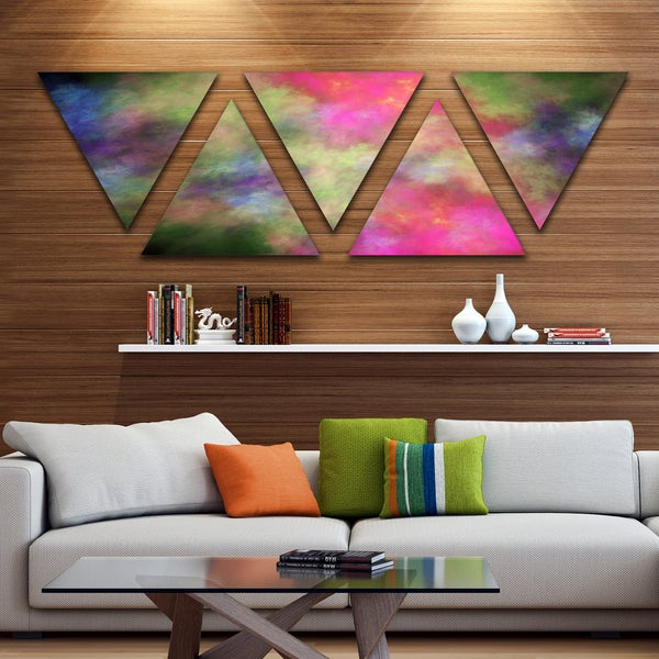 Designart 'Pink Starry Fractal Sky' Contemporary Triangle Canvas Art Print - 5 Panels