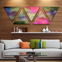 Designart 'Pink Starry Fractal Sky' Contemporary Triangle Canvas Art Print - 5 Panels