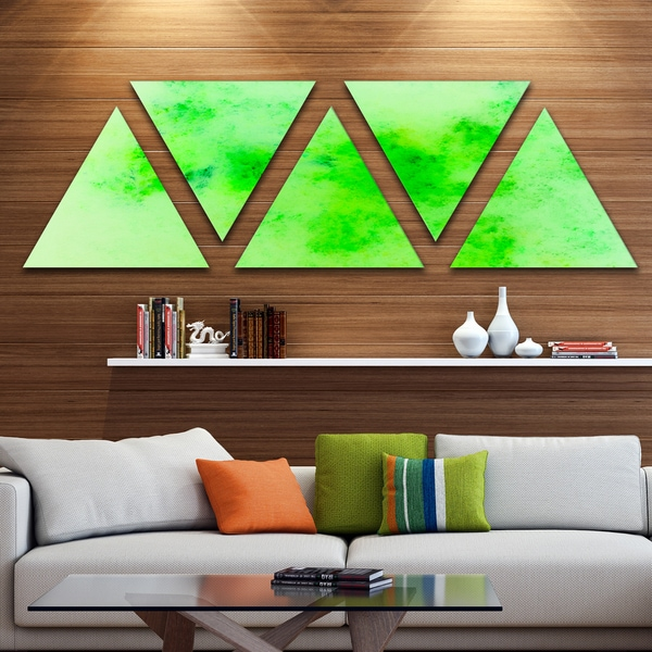 Designart 'Bright Green Starry Fractal Sky' Contemporary Triangle Canvas Art Print - 5 Panels