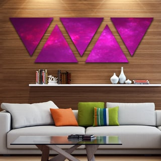 Designart 'Bright Pink Starry Fractal Sky' Contemporary Triangle Canvas Art Print - 5 Panels