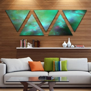 Designart 'Blue Fractal Sky with Blur Stars' Contemporary Triangle Canvas Art Print - 5 Panels