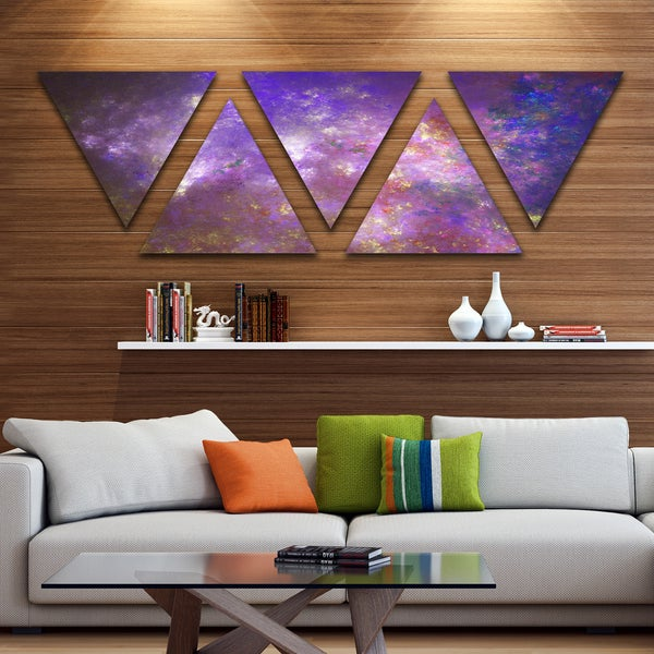 Designart 'Blur Fractal Sky with Stars' Contemporary Triangle Canvas Art Print - 5 Panels