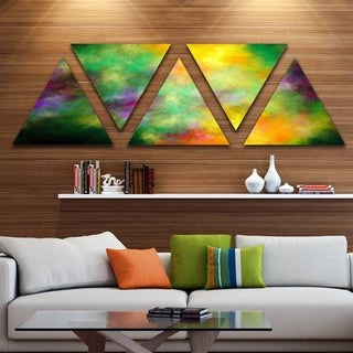 Designart 'Colorful Sky with Blur Stars' Contemporary Triangle Canvas Art Print - 5 Panels