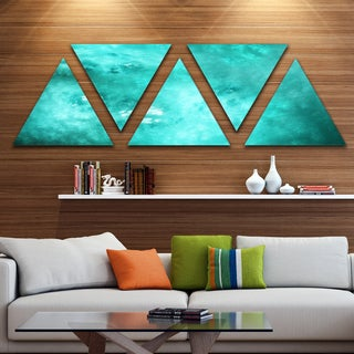 Designart 'Blur Blue Sky with Stars' Contemporary Triangle Canvas Art Print - 5 Panels