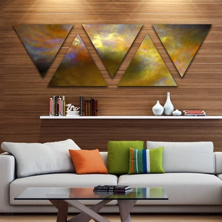 Designart 'Blur Yellow Sky with Stars' Contemporary Triangle Canvas Art Print - 5 Panels