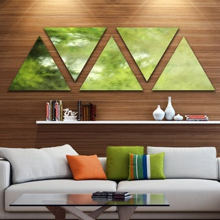 Designart 'Blur Green Sky with Stars' Contemporary Triangle Canvas Art Print - 5 Panels