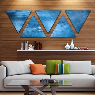 Designart 'Blur Clear Blue Sky with Stars' Contemporary Triangle Canvas Art Print - 5 Panels
