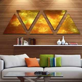 Designart 'Blur Golden Sky with Stars' Contemporary Triangle Canvas Art Print - 5 Panels