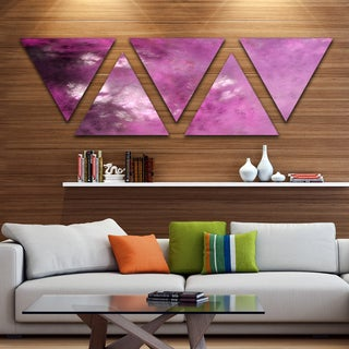 Designart 'Blur Pink Sky with Stars' Contemporary Triangle Canvas Art Print - 5 Panels