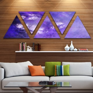 Designart 'Blur Purple Sky with Stars' Contemporary Triangle Canvas Art Print - 5 Panels