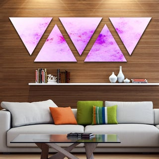 Designart 'Blur Light Pink Sky with Stars' Contemporary Triangle Canvas Art Print - 5 Panels
