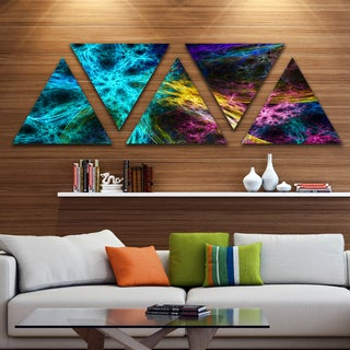 Designart 'Glowing Contemporary Fireworks' Contemporary Triangle Canvas Art Print - 5 Panels
