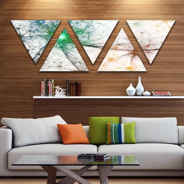 Designart 'Contemporary Colorful Fireworks' Contemporary Triangle Canvas Art Print - 5 Panels