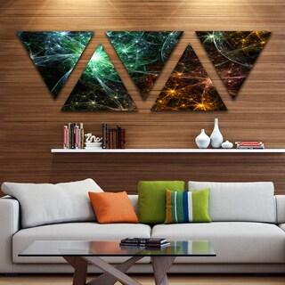 Designart 'Green Orange Colorful Fireworks' Contemporary Triangle Canvas Art Print - 5 Panels
