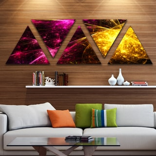 Designart 'Yellow Pink Colorful Fireworks' Contemporary Triangle Canvas Art Print - 5 Panels